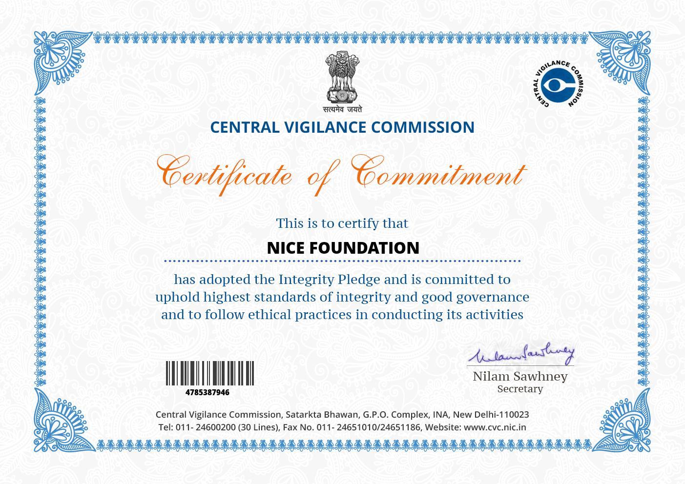 NICE Foundation - CVS Certificate