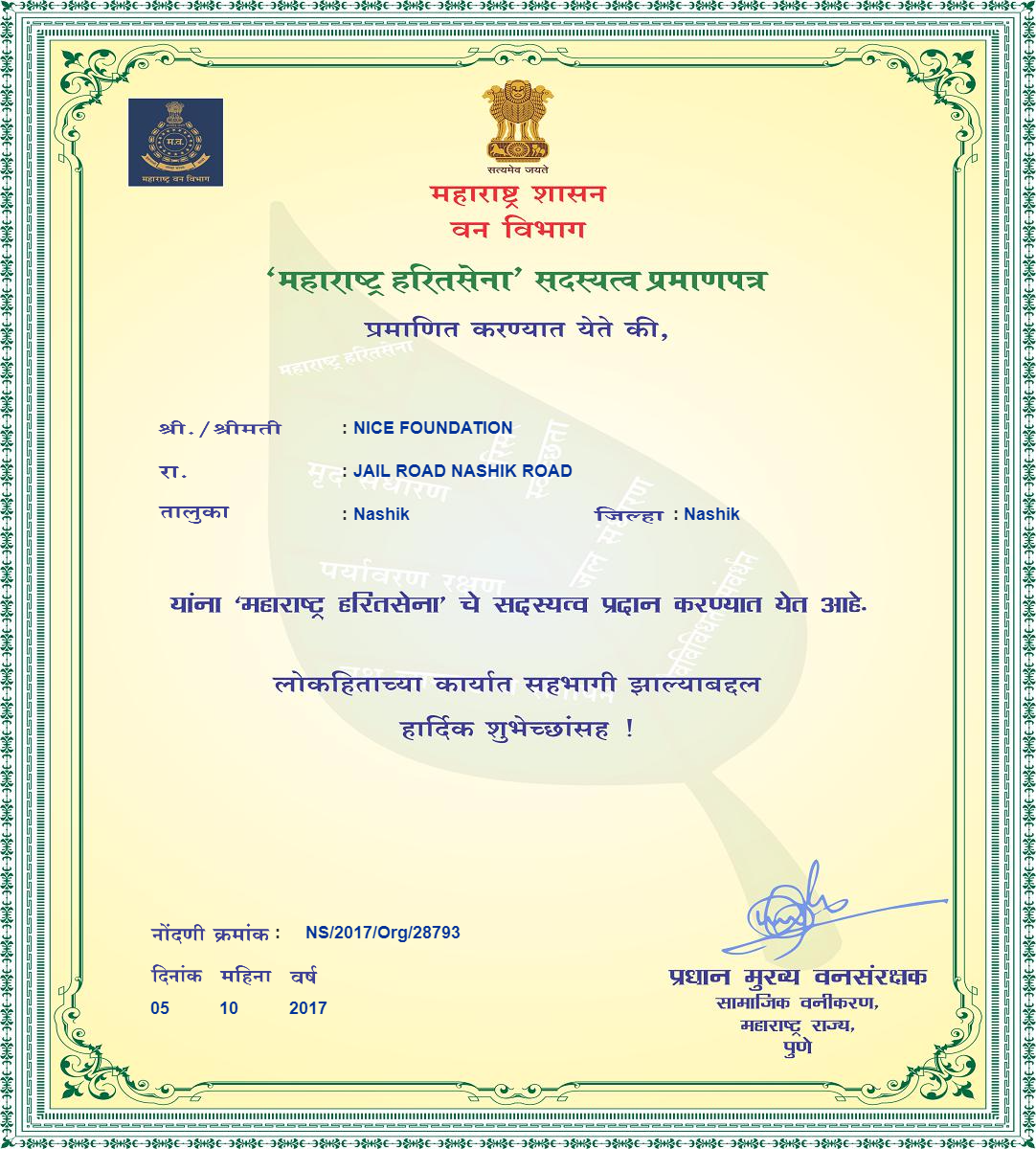 NICE Foundation - Green Army Certificate